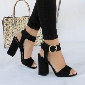 Romance Me - Black Chunky Heel Sandals